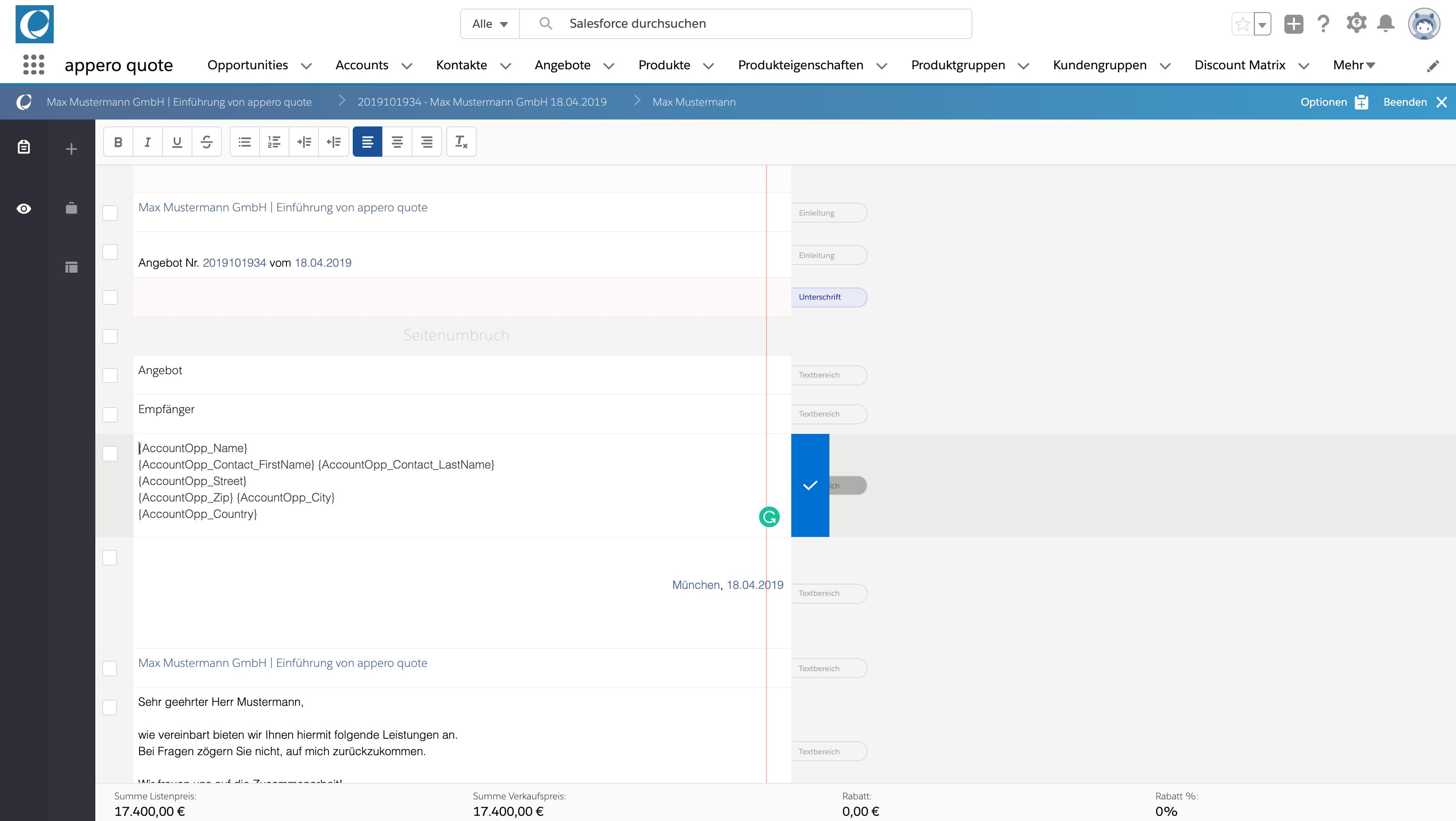 Feldwerte aus Salesforce referenzieren